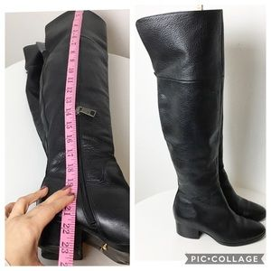 Ralph Lauren knee high black pebble leather boots